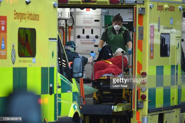 """Patient arrives by ambulance at the Royal London hospital on January 8, 2021 in London, England. London Mayor Sadiq Khan has warned that """"if we do..."""