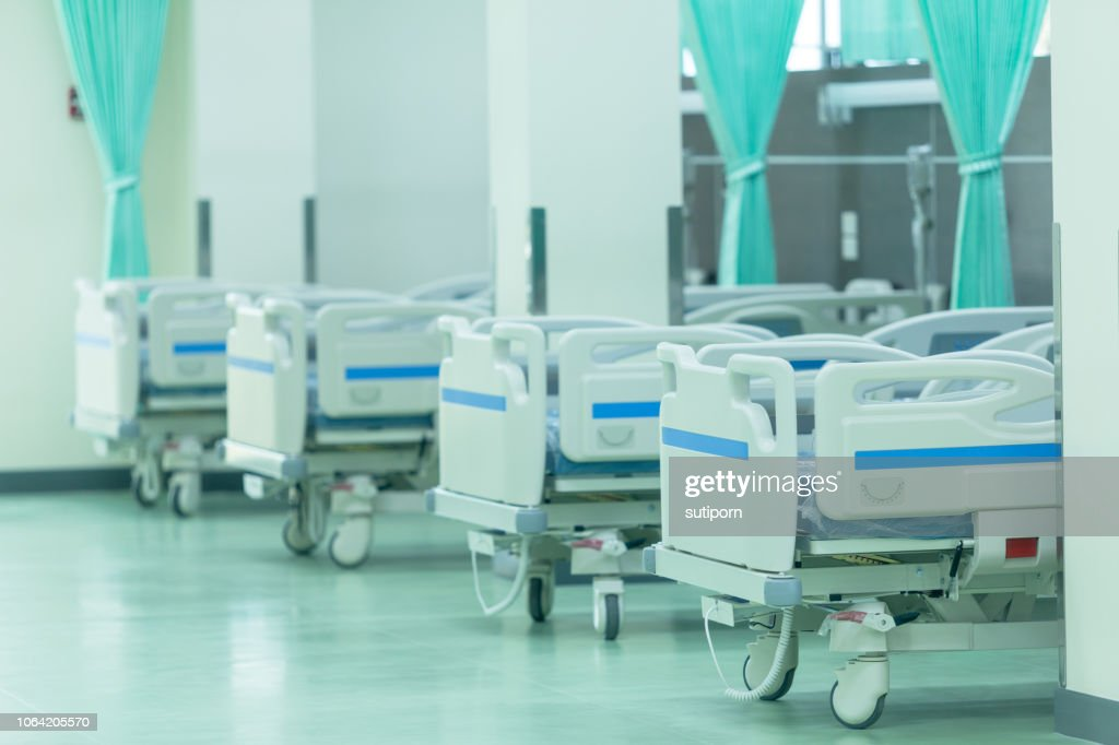 Patient beds in hospitals furniture interior decoration : Stock Photo