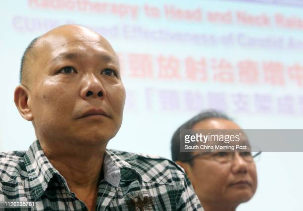 Patient Chu Hom-wing and Cheung Chuen-yeung , attend a press conference on a survey conducted by Chinese University reveals that head and neck cancer...