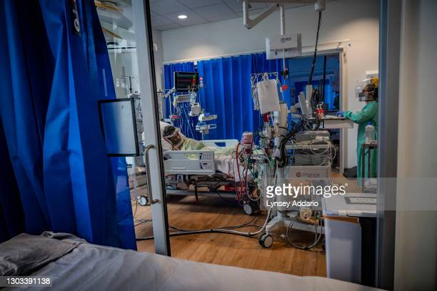 Patient Foysal Ahmad 51, sleeps after his physiotheraphy in Royal Papworth Hospital on June 15, 2020 in United Kingdom. Ahmed was among some of the...