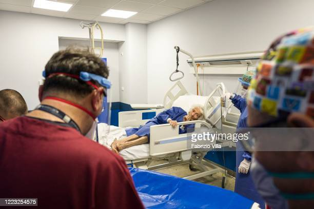 Patient Giovanna 97 years old in her room in the Infectious Diseases ward of the Cannizzaro hospital in Catania before being discharged because she...