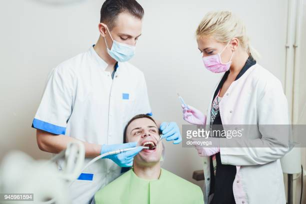 patient having dental checkup clinic