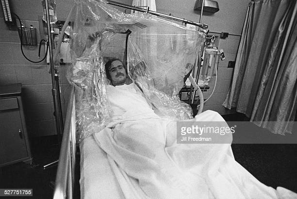 A patient in an oxygen tent USA circa 1980