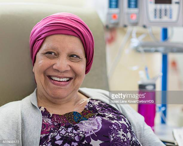 Patient in infusion room smiling