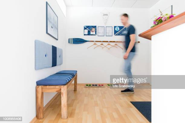 Patient in the reception area of a practice on May 25 2018 in BONN GERMANY