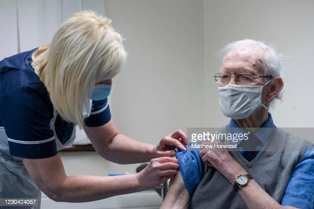 Patient is given the Oxford-AstraZeneca vaccine at Pontcae Medical Practice on January 4, 2021 in Merthyr Tydfil, Wales. The Oxford-AstraZeneca...