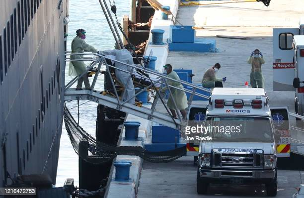 A patient is taken off the the Zaandam cruise ship after it arrived at Port Everglades on April 02 2020 in Fort Lauderdale Florida The Holland...