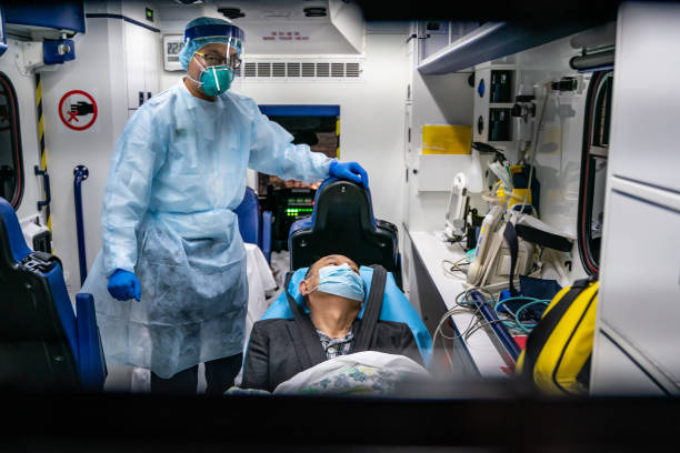Patient is transferred by an ambulance to the Infectious Disease Centre of Princess Margaret Hospital on January 22, 2020 in Hong Kong, China. Hong...