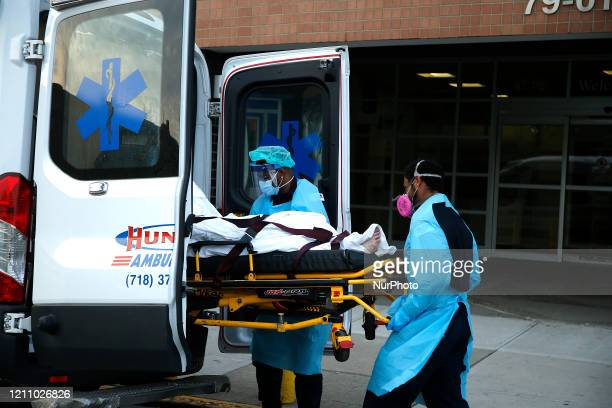 A patient is transferred from Elmhurst Hospital in New York US on April 25 2020 Elmhurst Hospital Trauma Center In Queens Borough of New York City...