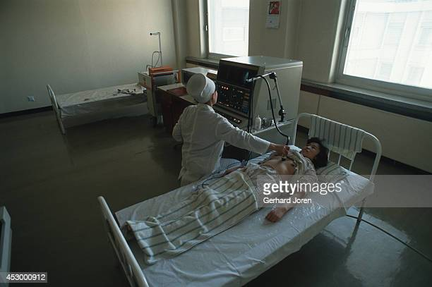 A patient is treated at the Pyongyang Maternity Hospital Only selected patients are treated at this high class hospital