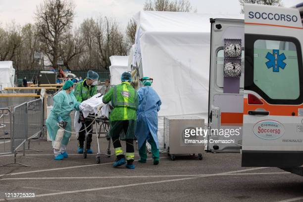 A patient is treated by a doctor at a Samaritan's Purse Emergency Field Hospital on March 20 2020 in Cremona near Milan Italy Samaritan's Purse is an...