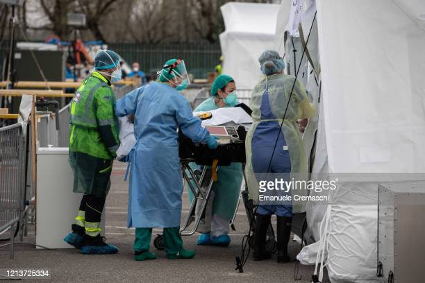 Patient is treated by a doctor at a Samaritan's Purse Emergency Field Hospital on March 20, 2020 in Cremona, near Milan, Italy. Samaritan's Purse is...