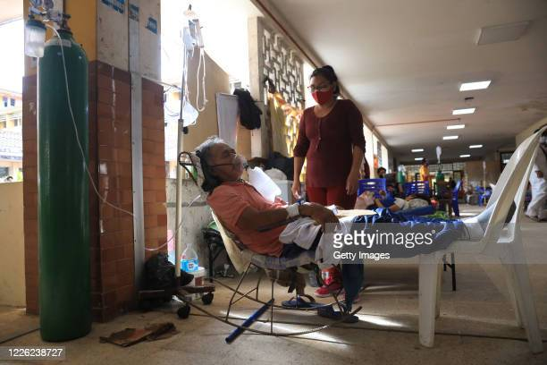 Patient receives oxygen at Regional Hospital of Loreto Felipe Arriola Iglesias on May 20, 2020 in Iquitos, Peru.