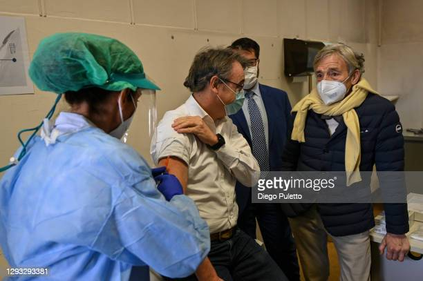 Patient receives the Pfizer-BioNTech COVID-19 vaccine in the Molinette hospital in Turin on December 27, 2020 in Turin, Italy. The European Medicines...
