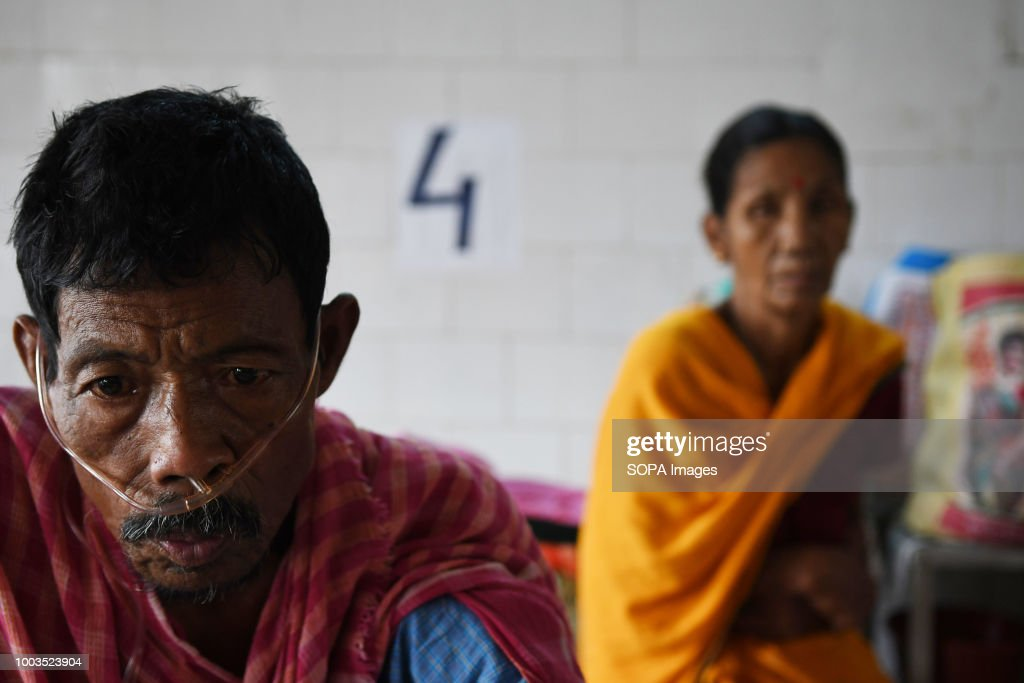 A TB patient seen with a nasal cannula. According to the... : News Photo
