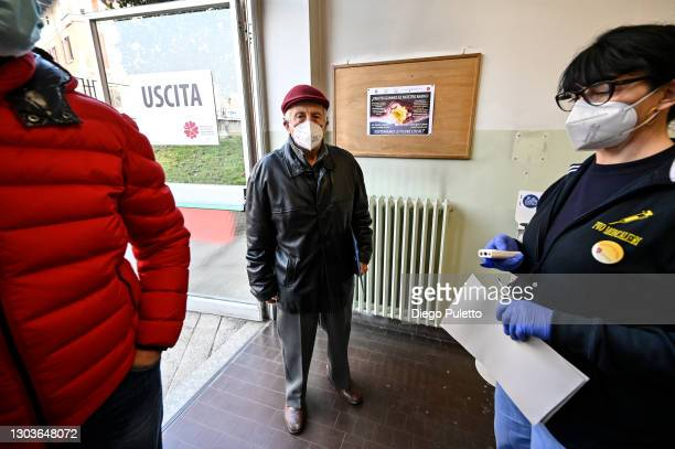 Patient waits to receive the Pfizer-BioNTech COVID-19 vaccine in the Moncalieri hospital on February 23, 2021 in Turin, Italy. The main state workers...