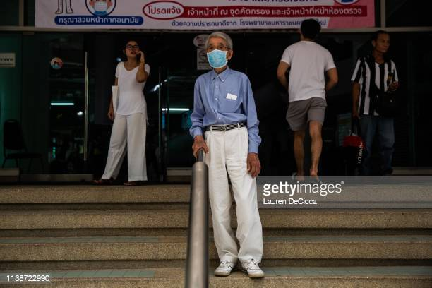 A patient wears a medical mask at the Suan Dok Hospital on April 22 2019 in Chiang Mai Thailand Thailand's Northern Provinces of Chiang Rai and...