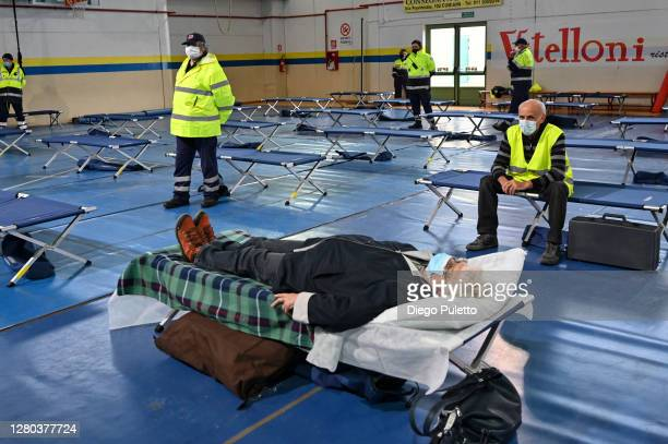Patients are housed in the field hospital built for the COVID19 emergency on October 15 2020 in Turin Italy The Emergency Piedmont Civil Protection...