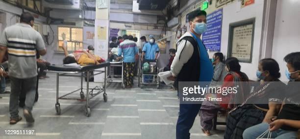 Patients at RML Hospital, on November 7, 2020 in New Delhi, India.