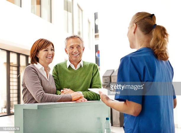 Patients at the reception of a hospital