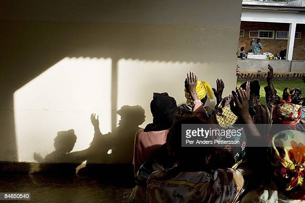 Patients attend an early morning church service on October 29 2007 at Panzi hospital outside Bukavu DRC Many of the women in the hospital has been...