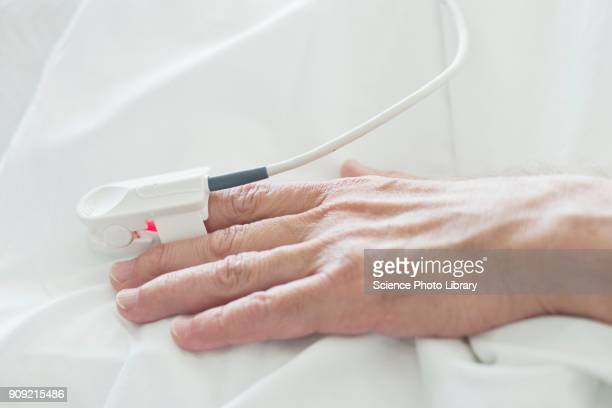 Patients hand with pulse oximeter