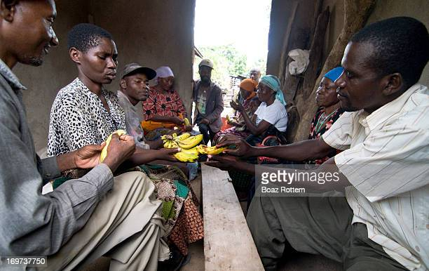 Patients in a rural clinic in sharing bananas. Photo taken in northern Tanzania.