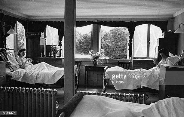 Patients in a sunny ward of the tuberculosis convalescent home at Paddington London