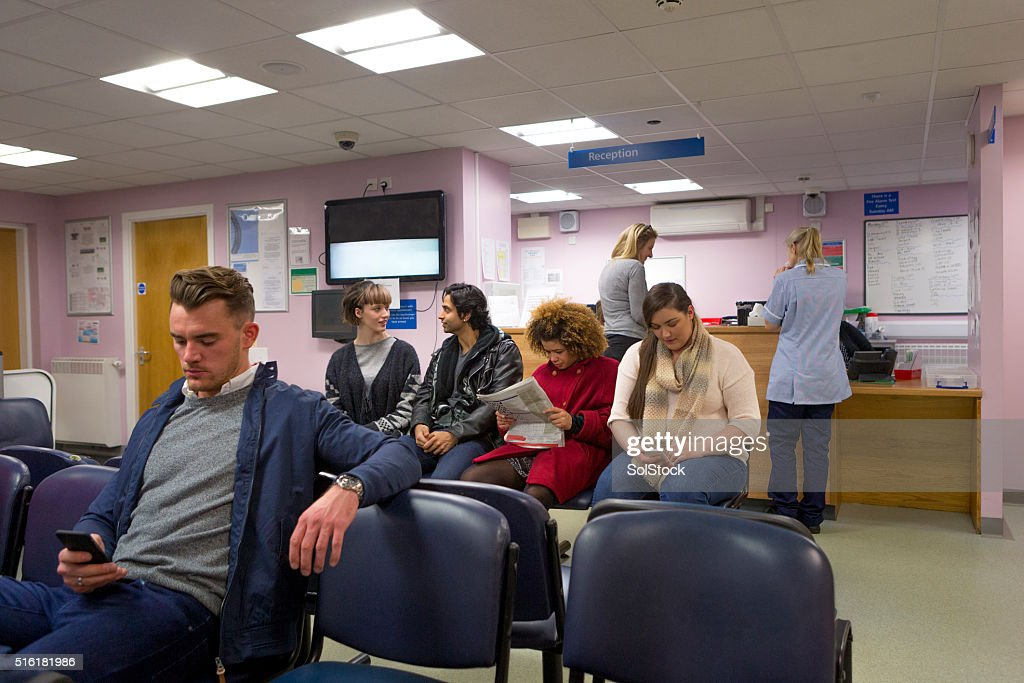 Patients in a Waiting room : Stock Photo