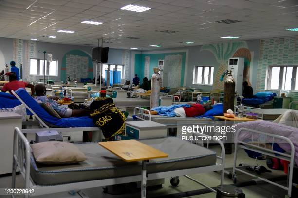 Patients suffering from acute respiratory challenge lies on hospital bed at a male ward in Lagos State Isolation Centre, Yaba, Lagos on January 22,...