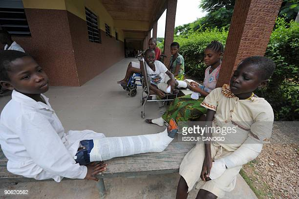 Patients suffering from Buruli ulcer, also known as the Bairnsdale ulcer or Searl ulcer, wait to get treatment on September 12, 2009 at a clinic in...