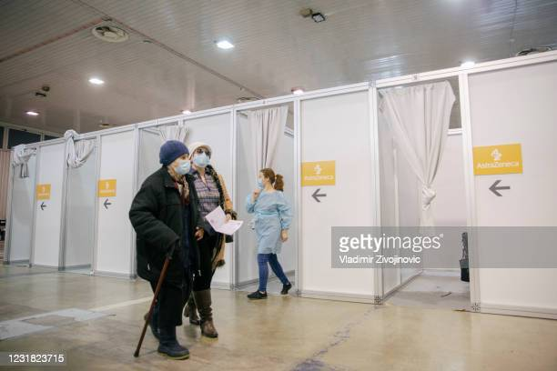 Patients wait to receive a dose of the Oxford-AstraZeneca anti-Covid-19 vaccine on March 20, 2021 in Belgrade, Serbia. Turn out for vaccination...