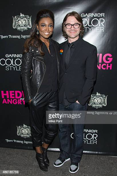 Patina Miller and fiance David Mars attend the Broadway opening night of Hedwig And The Angry Inch at the Belasco Theatre on April 22 2014 in New...