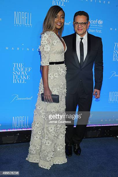 Patina Miller and Naeem Khan attend the 11th Annual UNICEF Snowflake Ball Honoring Orlando Bloom, Mindy Grossman And Edward G. Lloyd at Cipriani,...
