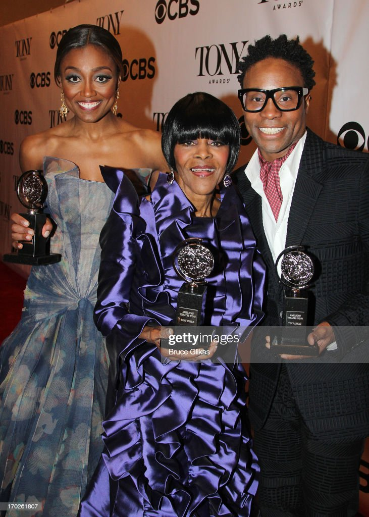 Patina Miller, winner of the award for Best Performance by a Leading Actress in a Musical for 'Pippin', Cicely Tyson, winner of the award for Best Performance by a Leading Actress in a Play for 'The Trip to Bountiful' and Billy Porter, winner of the award for Best Performance by a Leading Actor in a Musical for ' Kinky Boots' pose together in the press room during the 67th Annual Tony Awards at the on June 9, 2013 in New York City.