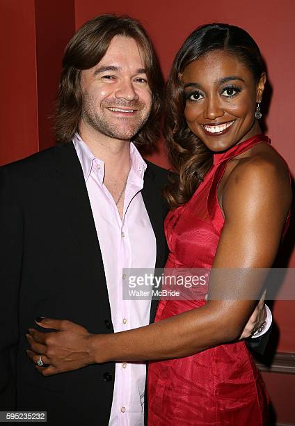 Patina Miller with boyfriend David Mars attending the 63rd Annual Outer Critics Circle Awards Party at Sardi's on May 23 2013 in New York City
