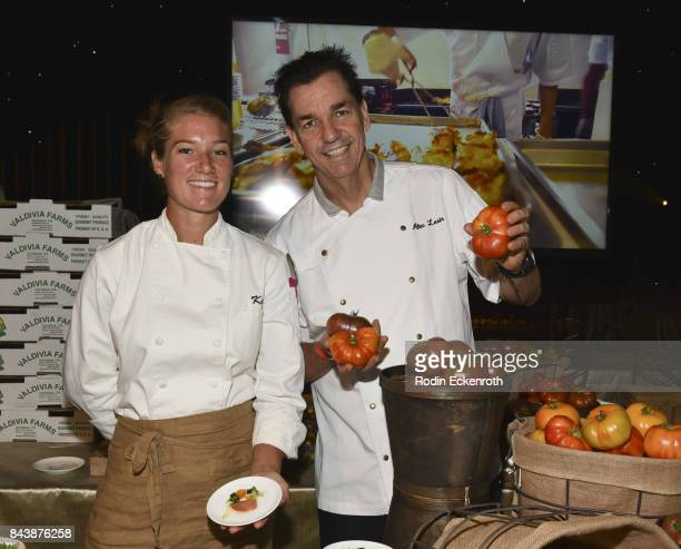 Patina Restaurant Group Executive Pastry Chef Frania Mendivil and Patina Catering Executive Chef Alec Lestr pose for portrait at Television Academy's...