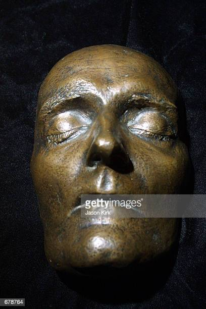 A patinated bronze death mask of Napoleon Bonaparte is on display during a Los Angeles auction preview November 2 2001 at Butterfileds in Los Angeles...