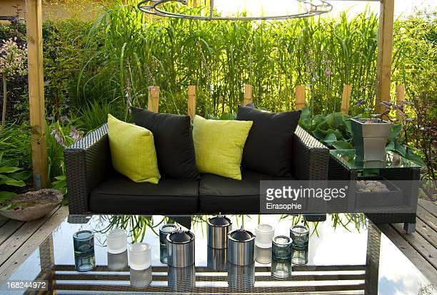 Patio and a modern wicker sofa