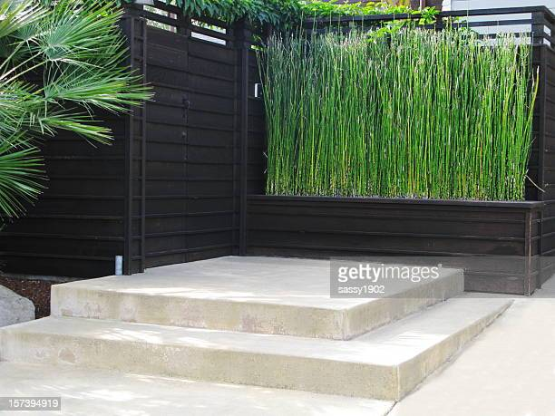 patio bamboo japanese - wall building feature stock pictures, royalty-free photos & images