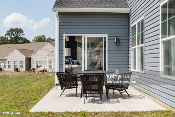 Patio behind the Waverly Model Home at Hawthorne Greene on August 10, 2021 in La Plata Maryland.