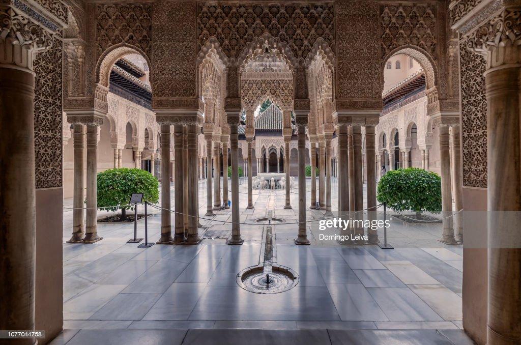 Patio de los Leones, Alhambra de Granada, Spain : Foto de stock