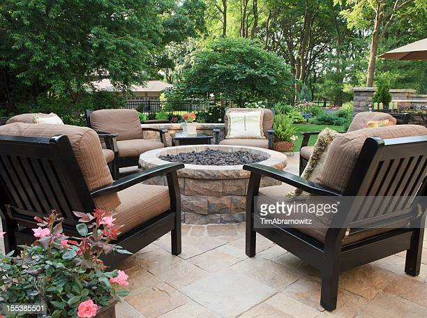patio fire pit - fire pit stock pictures, royalty-free photos & images