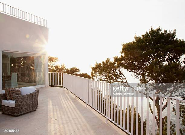 patio of modern house - balcony stock pictures, royalty-free photos & images