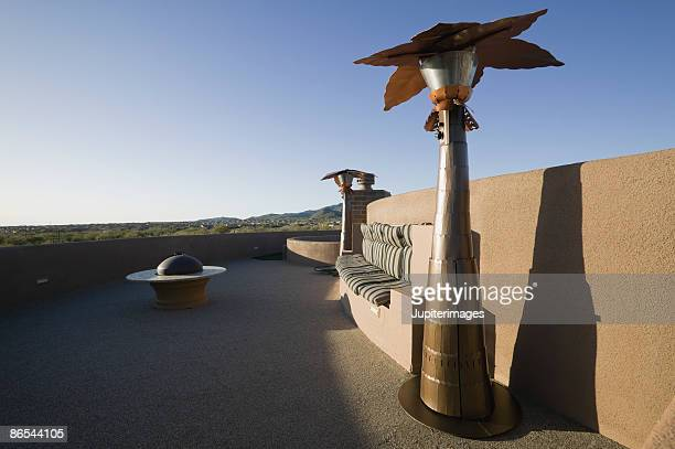 Patio on roof with gas heater