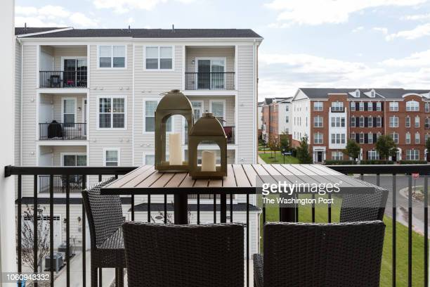 Patio on the Delanie model home at Loudon Valley The Carlisle on October 24 2018 in Ashburn Virginia