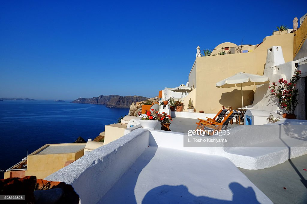 Patio view of the Caldera in Santorini, Greece : Stock Photo