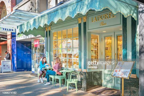 patisserie on robson street in vancouver british columbia canada - tea room stock pictures, royalty-free photos & images