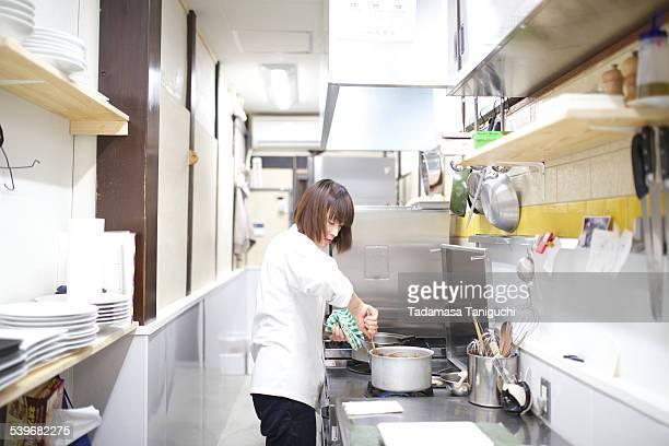 Patissier making desserts