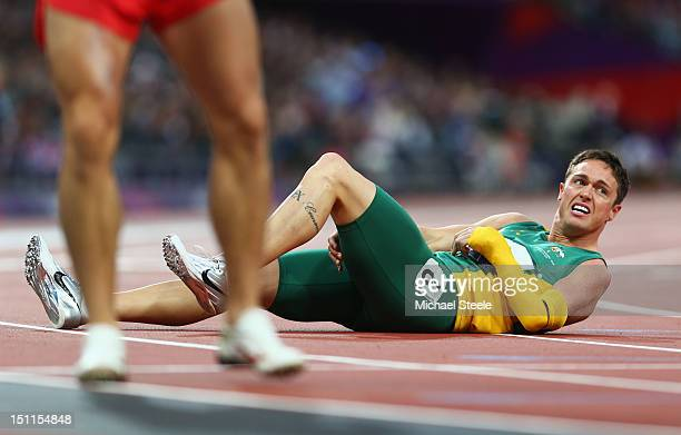 Patmore of Australia celebrates winning the bronze in the Men's 200m T46 Final on day 4 of the London 2012 Paralympic Games at Olympic Stadium on...